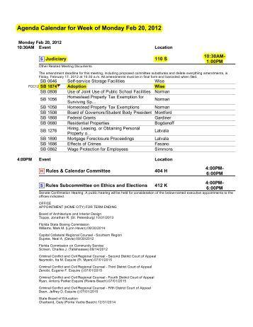 Agenda Calendar for Week of Monday Feb 20, 2012