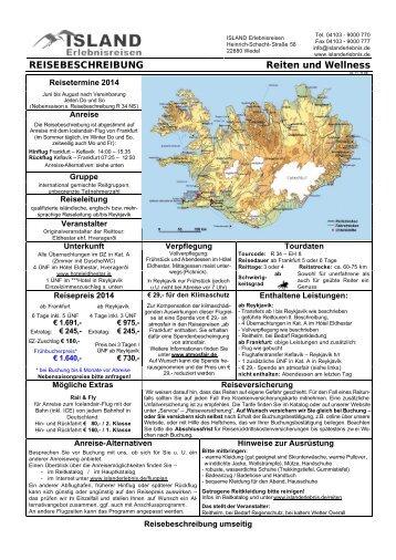 REISEBESCHREIBUNG Reiten und Wellness - ISLAND ...