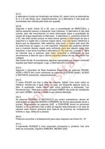Resolução Espanhol - PUCRS 2010/2
