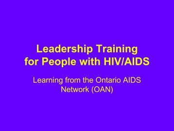 Leadership Training for People with HIV/AIDS - Pacific AIDS Network