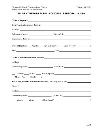 Captivating INCIDENT REPORT FORM: Accident/Personal Injury   Newton . Pertaining To Patient Incident Report Form