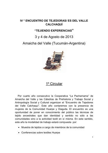 3 y 4 de Agosto de 2013 Amaicha del Valle ... - Otras Memorias