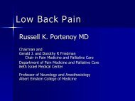 Low Back Pain - Department of Pain Medicine and Palliative Care