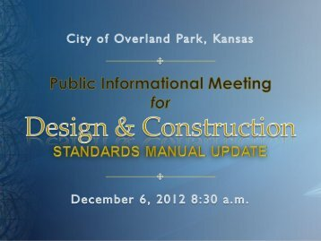 Design and Construction Standards Manual Update