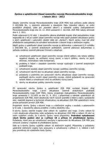 Zpráva o uplatňování Zásad územního rozvoje Moravskoslezského ...