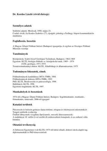 Dr. Kordos László (rövid életrajz) Személyes adatok ... - Doktori Iskola