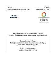 Programme Colloque Journalisme et Culture mai 2012 - Celsa
