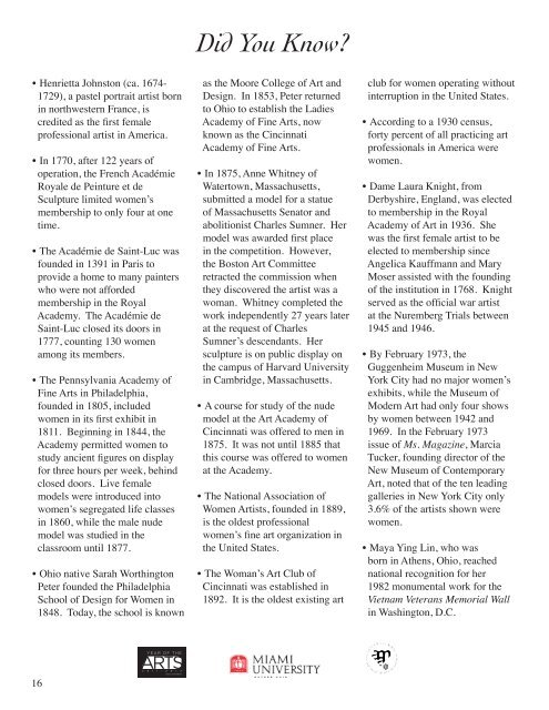 Fall 2011 Gallery Guide - Miami University School of Fine Arts