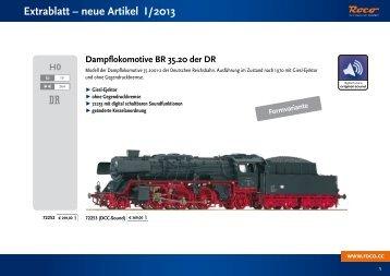 Extrablatt – neue Artikel I/2013 - Roco