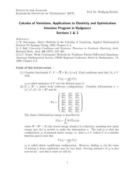 Calculus Of Variations Applications To Elasticity And