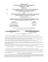 WHITE MOUNTAINS INSURANCE GROUP, LTD.