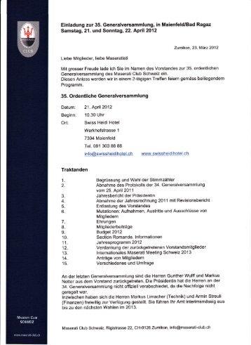 Einladung zur 35. Generalversammlung, in Maienfeld/Bad Ragaz ...