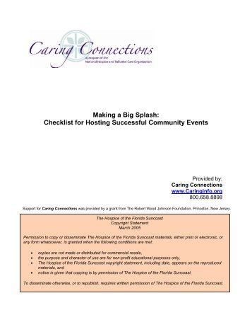 Checklist for Hosting Successful Community Events - Caring ...