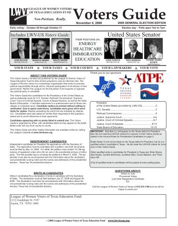 Question to candidate - The League of Women Voters of Texas