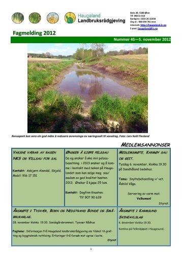 Fagmelding 2012 - Haugaland landbruksrådgjeving