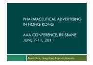 Pharmaceutical advertising in Hong Kong - Hong Kong Baptist ...