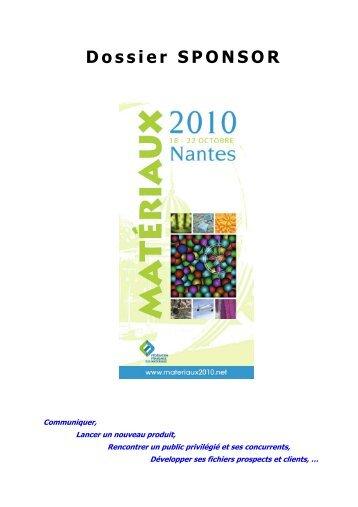 Télécharger le dossier Sponsor - Materiaux 2010