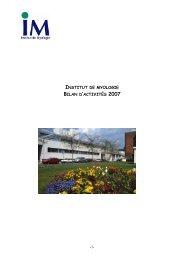 INSTITUT DE MYOLOGIE BILAN D'ACTIVITÉS 2007