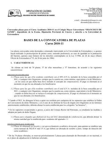 BASES DE LA CONVOCATORIA DE PLAZAS Curso 2010-11