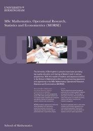 MSc Mathematics, Operational Research, Statistics and Econometrics
