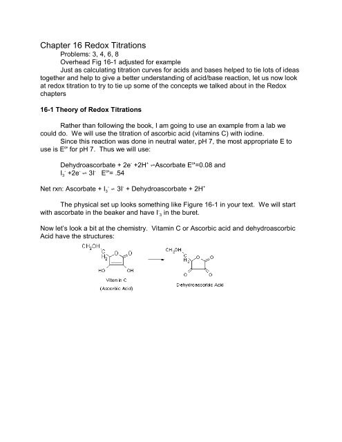 Chapter 16 Redox Titrations