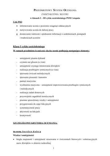 PRZEDMIOTOWY SYSTEM OCENIANIA - PSM
