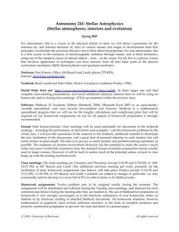 Astronomy 241: Stellar Astrophysics - Physics and Astronomy ...