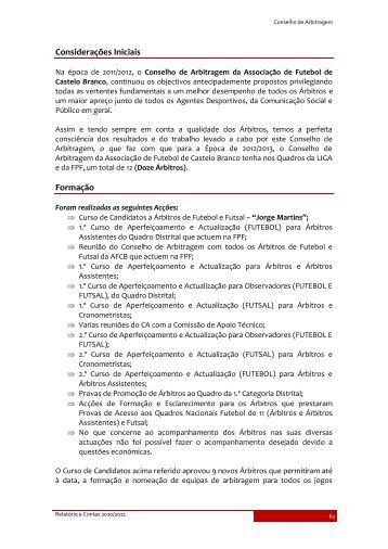 Conselho de Arbitragem - Associação de Futebol de Castelo Branco