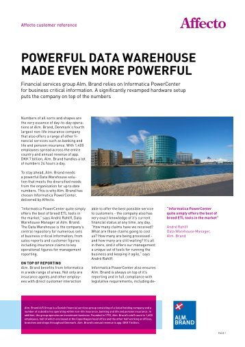Powerful Data warehouse maDe even more Powerful - Affecto