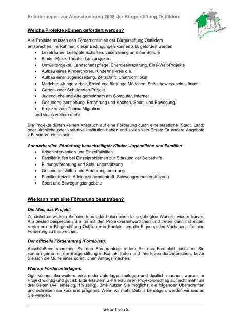Erläuterungen zur Ausschreibung 2008 der Bürgerstiftung Ostfildern ...