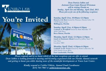 You're Invited Sunday, April 21st, 10:00am-12 ... - Touro Law Center