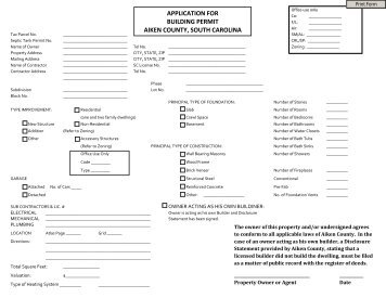 Aiken County Building Permit Application