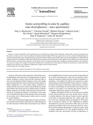 Amino acid profiling in urine by capillary zone electrophoresis ...