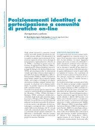 Posizionamenti identitari e partecipazione a comunità di pratiche on ...