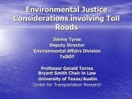 Environmental Justice Considerations involving Toll Roads