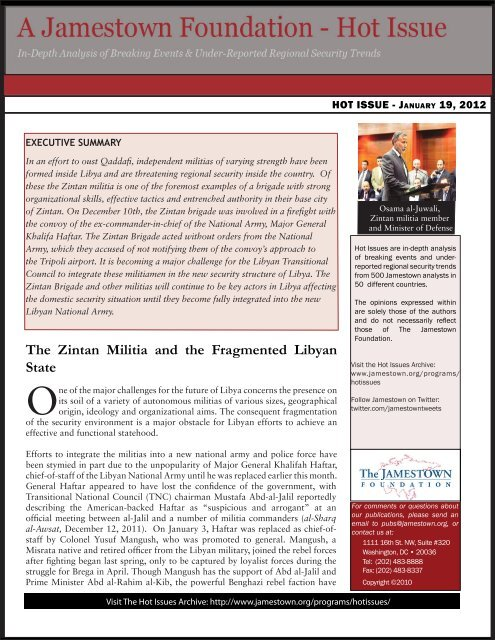 The Zintan Militia and the Fragmented Libyan State