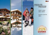 Prospekt u. Preisliste - Activ Sunny Hotel Sonne