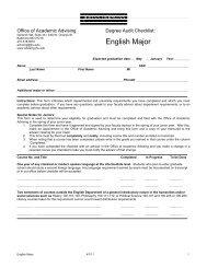 English Major Requirements Checklist