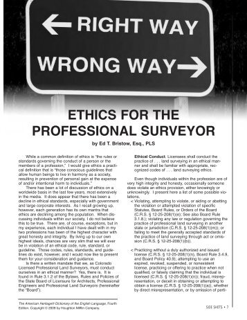 ETHICS FOR THE PROFESSIONAL SURVEYOR