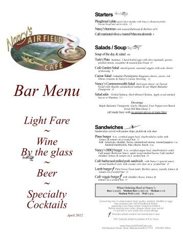 Nancy S Airfield Cafe Breakfast Menu