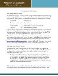 Writing Effective Topic Sentences - Writing Center