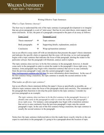 Writing Effective Topic Sentences - Writing Center
