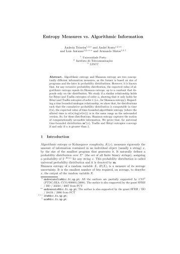 Entropy Measures vs. Algorithmic Information