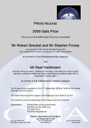 2009 Gaïa Prize Mr Robert Greubel and Mr Stephen Forsey Mr Beat ...