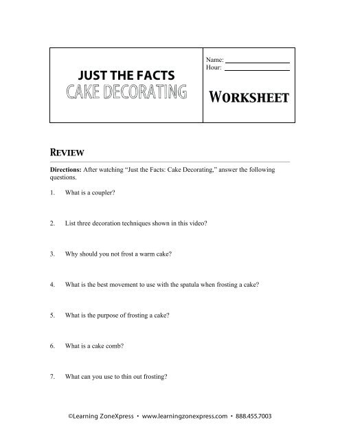 JUST THE FACTS CAKE DECORATING Worksheet - Learning Zone ...