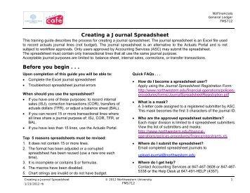 Creating a Journal Spreadsheet - Northwestern University