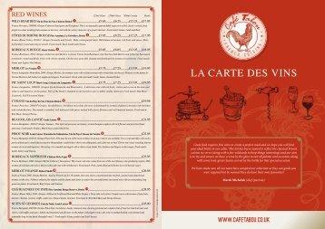 LA CARTE DES VINS - Cafe Tabou