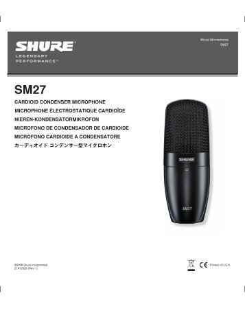 SM27 Side-Address Condenser Microphone User Guide - Pro Music