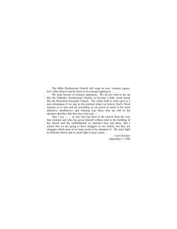 Chapter 7: The Bible Presbyterian Church - PCA Historical Center