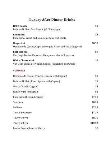 Luxury After Dinner Drinks - Meze